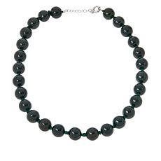 "Jade of Yesteryear 22"" Sterling Silver Jade Beaded Necklace"