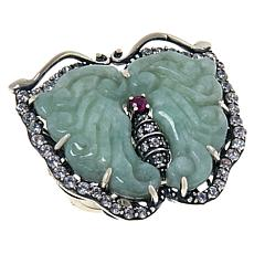 Jade of Yesteryear Carved Jade, Ruby and Cubic Zirconia Butterfly Ring
