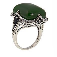Jade of Yesteryear Cushion-Cut Green Jade, Black Spinel and CZ Ring