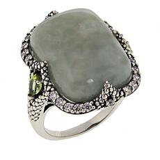 Jade of Yesteryear Cushion-Cut Green Jade, Peridot and CZ Ring