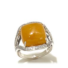 Jade of Yesteryear Cushion Cut Yellow Jade and CZ Ring