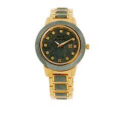 Jade of Yesteryear Goldtone Green Jade and White Topaz Bracelet Watch
