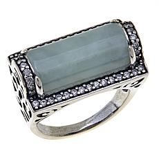 Jade of Yesteryear Green Jade and CZ Filigree Ring