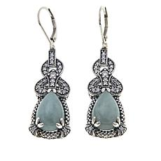 Jade of Yesteryear Green Jade and CZ Sterling Silver Drop Earrings