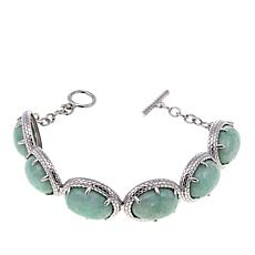 Jade of Yesteryear Green Jade Sterling Silver Toggle Bracelet