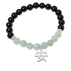 Jade of Yesteryear Inspirational Drop Jade and Agate Stretch Bracelet