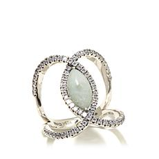 Jade of Yesteryear Jade and CZ Negative Space Ring