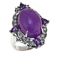 Jade of Yesteryear Lavender Jade, CZ and Amethyst Sterling Silver Ring