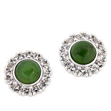 Jade of Yesteryear Nephrite Jade and White Topaz Stud Earrings