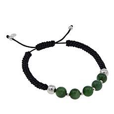 Jade of Yesteryear Nephrite Jade Bead Macrame Bracelet
