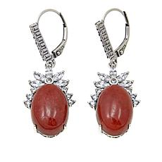 Jade of Yesteryear Oval Red Jade and CZ Drop Earrings