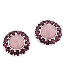 Jade of Yesteryear Pink Jade and Rhodolite Stud Earrings