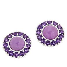 Jade of Yesteryear Purple Jade and Amethyst Stud Earrings