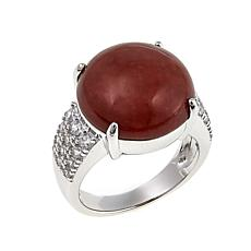 Jade of Yesteryear Round Red Jade and CZ Sterling Silver Ring