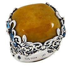 Jade of Yesteryear Sterling Silver Cushion Jade and Gemstone Ring