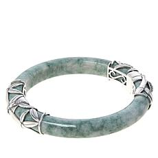 Jade of Yesteryear Sterling Silver Green Jade Hinged Bamboo Bangle