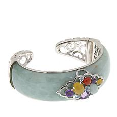 Jade of Yesteryear Sterling Silver Jade and Multi-Gemstone Hinged Cuff