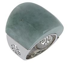 Jade of Yesteryear Sterling Silver Jade Graduated Band Ring