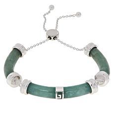 Jade of Yesteryear Sterling Silver Jade Segment Adjustable Bracelet