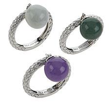 Jade of Yesteryear Sterling Silver Multi-Color Jade Bead Ring Set