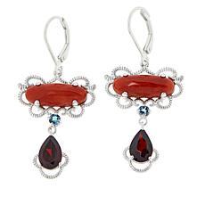 Jade of Yesteryear Sterling Silver Multi-Gem East/West Drop Earrings