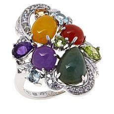 Jade of Yesteryear Sterling Silver Multicolor Jade and Gemstone Ring