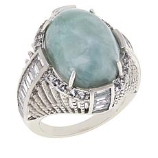 Jade of Yesteryear Sterling Silver Oval Jade, Baguette CZ and Gem Ring