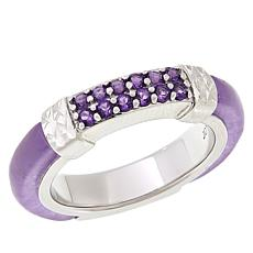 Jade of Yesteryear Sterling Silver Purple Jade and Amethyst Band Ring