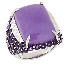 Jade of Yesteryear Sterling Silver Purple Jade and Amethyst Ring