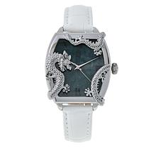 Jade of Yesteryear Women's Jade Dial Dragon-Design Leather Watch