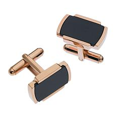 James Michael Men's Rosetone and Black Stainless Steel Cuff Links