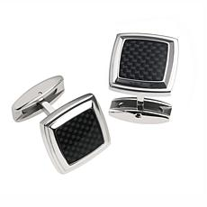 James Michael Men's Stainless Steel and Black Carbon Fiber Cuff Links