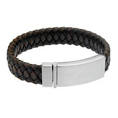 James Michael Men's Stainless Steel Black and Brown Leather Bracelet