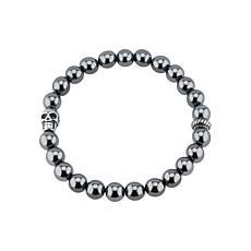 James Michael Skull Station Hematite Bead Stretch Bracelet