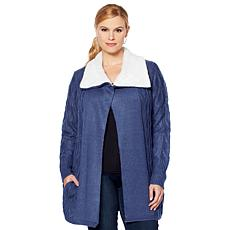 Jamie Gries Cable Knit Duster with Faux Shearling Collar