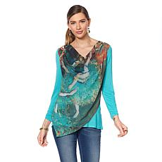 Jamie Gries Collection Artist Series Chiffon Drape-Front Top