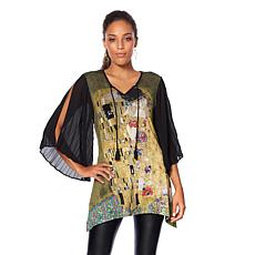 Jamie Gries Collection Artist Series Pleated-Sleeve Blouse