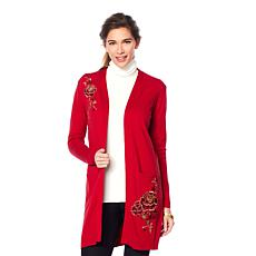 Jamie Gries Floral Embroidered Duster Sweater