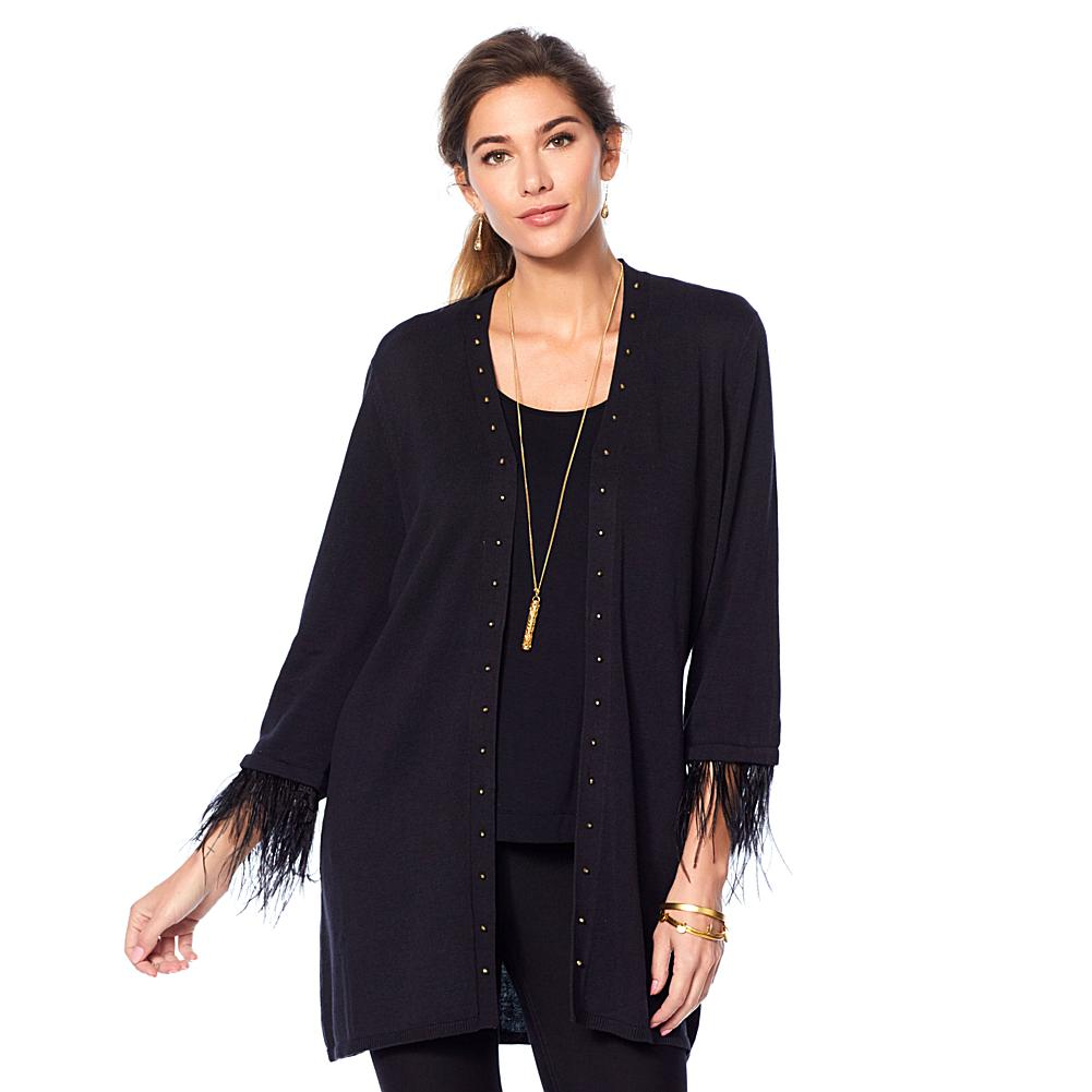 Jamie Gries Studded V Neck Duster with Ostrich Feather Trim