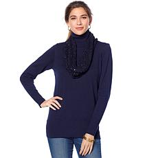 Jamie Gries Turtleneck and Sequin Infinity Scarf 2-piece Set