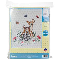 Janlynn Stamped Quilt Cross Stitch Kit Baby Deer - Stitched In Floss