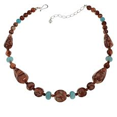 "Jay King 18"" Red Orchid Stone and Quartzite Bead Necklace"