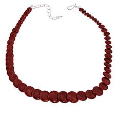 "Jay King 18"" Sterling Silver Red Coral Graduated Disc Necklace"