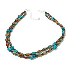 "Jay King 2-Row Multicolor Turquoise Bead 18"" Necklace"