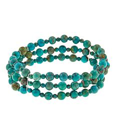 Jay King 3-Row Turquoise Bead Stretch Bracelet