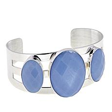 Jay King 3-Stone Dream Blue Opal Cuff Sterling Silver Bracelet
