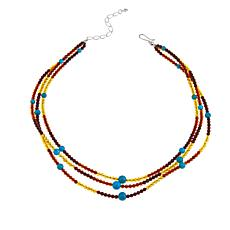 "Jay King 3-Strand Amber and Turquoise Sterling Silver 18"" Necklace"