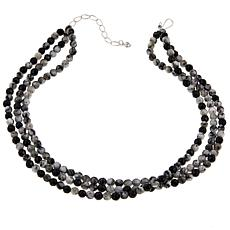 Jay King 3-Strand Feather Stone-Black Agate Necklace