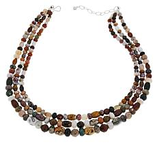 Jay King 3-Strand Multi-Color Orbicular Chalcedony Bead Necklace
