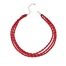 "Jay King 3-Strand Red Sea Bamboo Coral Bead 18"" Necklace"